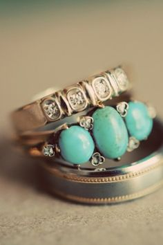 This would totally be how I'd know he truely KNEW my heart! Lol! - Turquoise and diamond engagement ring, vintage wedding band. #dental #poker