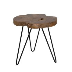 Natura Hairpin Round Accent Table - Style In Form White Accent Table, Small Accent Tables, Round Accent Table, Round Side Table, Side Tables, Teak Oil, Live Edge Table, Country Furniture, Nesting Tables