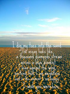 I dig my toes into the sand, the ocean looks like a thousand diamonds strewn across a blue blanket.  - Incubus.