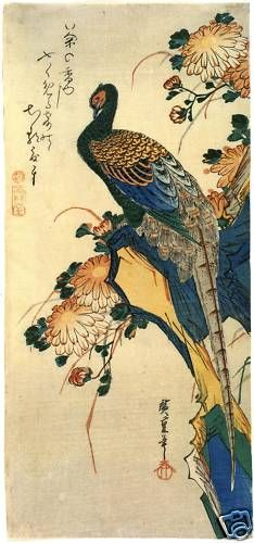 (Japan) Bird and flower by Utagawa Hiroshige woodblock print. Japanese Artwork, Japanese Prints, Japanese Wall, Art And Illustration, Kunsthistorisches Museum, Japan Painting, Art Asiatique, Japan Art, Museum Of Fine Arts