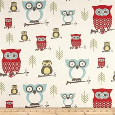 Premier Prints Hooty Formica from @fabricdotcom  Screen printed on cotton duck, this versatile medium-weight fabric is perfect for window accents (draperies, valances, curtains, and swags), accent pillows, duvet covers, and upholstery projects. Colors include beige, teal, green, red, citron, and grey.