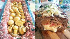 Ρολό κιμά σε φόρμα, γεμιστό με διάφορα τυριά, μπέικον, ελιές και μανιτάρια. Συνταγή για ρολό κιμά γεμιστό ιδανικό για μπουφέ ή στο επίσημο τραπέζι σας Greek Recipes, Stuffed Mushrooms, Beef, Cheese, Cooking, Breakfast, Rolo, Fire Places, Stuff Mushrooms