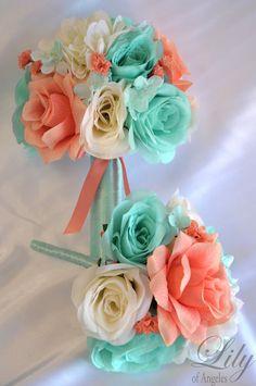 Ideas For Diy Wedding Flowers Bouquet Silk Bridal Parties Silk Flower Bouquets, Silk Flower Arrangements, Flower Bouquet Wedding, Silk Flowers, Cascade Bouquet, Blue Bouquet, Prom Bouquet, Beach Wedding Reception, Beach Wedding Flowers