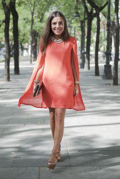 Cape shoulder pads dress