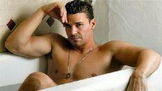 David Boreanaz.  I never found him hot before watching Bones, but now?  Mmmm, mmmm, mmmm.  That boy is delicious!
