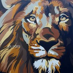 Colorful Animal Paintings, Abstract Animals, Painting Inspiration, Art Inspo, Pop Art, Lion Painting, Lion Wallpaper, Arte Pop, Whimsical Art