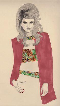 pink trench - fashion illustration - miss mel