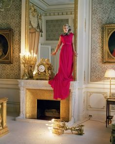 Kate Moss in Giambattista Valli Haute Couture silk dress and necklace  Hôtel Ritz in Paris  (pre-renovations)