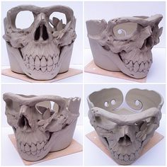 """7"""" Skull yarn bowl with additional butterflies. Unfired custom order. \ by earthwoolfire"""