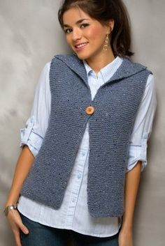 Easy adorable knitted vest--seamless!. Do it in a tuck instead of garter
