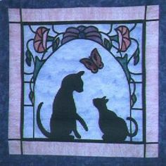 Comfort of Quilts: Large Version Stained Glass Cat Quilt