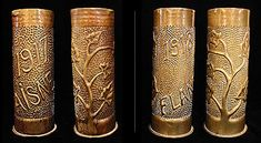 WWI Trench art -- chased bomb shells
