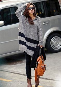 Grey Striped Pattern Long Sleeve Casual Cotton Blend Pullover Sweater
