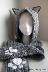 Cozy Cat Hooded Scarf. Free written directions for this cute accessory.
