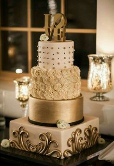 Beautiful structured golden wedding cake for New Years Eve - Weddin . - Beautiful 4 tier textured golden wedding cake for New Years Eve – Wedding Cakes – # 4 stage - Elegant Wedding Cakes, Beautiful Wedding Cakes, Gorgeous Cakes, Wedding Cake Designs, Pretty Cakes, Amazing Cakes, Elegant Cakes, Beautiful Gorgeous, Bolo Cake