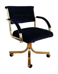 brass desk chair w/ gray velvet fabric | office | pinterest | desks