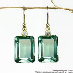 Pure Gold Emerald Cut Sage Green Prasiolite Earrings W/ Radiant Cut Diamond Radiant Cut Diamond, Diamond Cuts, Amethyst Earrings, Diamond Earrings, Drop Earrings, Bijoux Art Nouveau, Cool Gifts For Women, Or Antique, Bridal Earrings