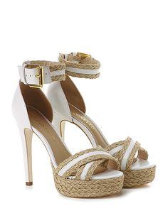 Cecconello - Sandalo alto - Donna - Sandalo alto in pelle e juta con cinturino alla caviglia e suola in cuoio. Tacco 140, platform 40 con battuta 100. - BIANCO\BEIGE - € 195.00