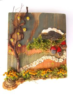 Natural materials assemblage collage wall by NaturalMaterialsArt, €75.00