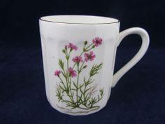 Berkshire English Fine Bone China White Mug Cup Coffee Tea Flowers Gold Trim