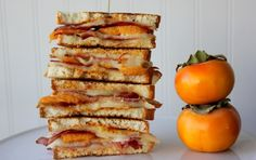 Take your grilled cheese to another level with persimmons and goat cheese.