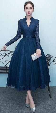 99 Fashionable Tea Length Wedding Dress Ideas To Try Asap Tea Length Wedding Dress, Tea Length Dresses, 50s Dresses, Trendy Dresses, Elegant Dresses, Homecoming Dresses, Vintage Dresses, Beautiful Dresses, Evening Dresses