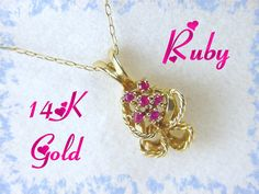 14K Gold  Bouquet of Ruby Flowers Pendant & by FindMeTreasures, $239.00
