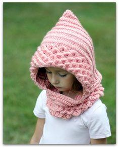 Crochet PATTERN Crocodile Stitch Hood 2 sizes di bonitapatterns