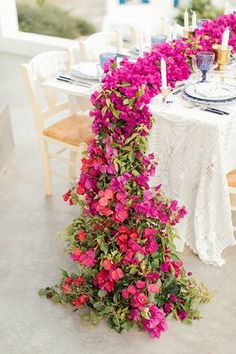 We're Blushin' Over Bougainvillea All the Different Ways to Incorporate It Into Your Big Day! - Green Wedding Shoes We're Blushin' Over Bougainvillea All the Different Ways to Incorporate It Into Your Big Day! Spring Wedding Centerpieces, Wedding Decorations, Spring Weddings, Floral Centerpieces, Pastel Weddings, Blue Weddings, Romantic Weddings, Table Decorations, Bougainvillea Wedding