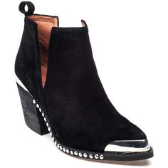 JEFFREY CAMPBELL Optimum Black Suede Bootie (7.050 RUB) ❤ liked on Polyvore featuring shoes, boots, ankle booties, ankle boots, botas, sapatos, black suede, suede booties, high heel bootie and black suede bootie