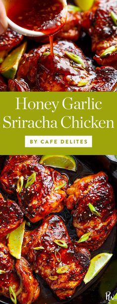 Get this tasty honey garlic sriracha chicken recipe and more of the absolute best chicken thigh recipes here. #sriracha #spicy #spicychicken #chickenthighs #chickenrecipes #chickendinners #easydinners #dinnerideas #chicken