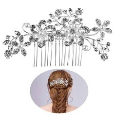 TINKSKY Bridal Hair Combs Hair Slides Pearls Decor Flower Hair Decoration(Silver) * To view further for this item, visit the image link.