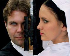 Han Solo and Princess Leia cosplay.  Leia costuming by Rebel Princess Cosplay & Costuming.  Image by Artasyougo. 2013