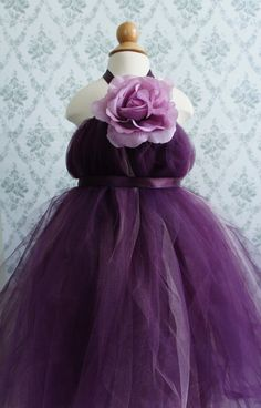 purple tutu flower girl dress