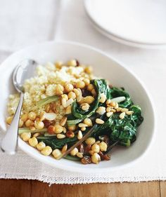 Swiss Chard With Chickpeas and Couscous | RealSimple.com