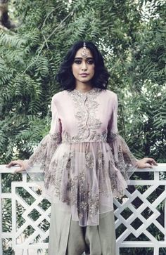 Sayani wears a Jayanti Reddy bell-sleeve blouse with dhoti pants Heavy Dresses, Trendy Dresses, Casual Dresses, Fashion Dresses, Dresses With Sleeves, Country Wedding Dresses, New Wedding Dresses, Dress Indian Style, Indian Dresses