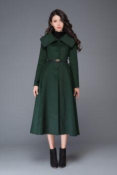 Green Wool Coat, Long Wool Coat, Maxi Coat, Coat Dress, Shirt Dress, Winter Coats Women, Coats For Women, Fit And Flare Coat, Swing Coats