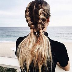 hair hacks Coiffure rapide et facile: les messy cornrows Pigtail Hairstyles, Pigtail Braids, Pretty Hairstyles, Easy Hairstyles, Braided Pigtails, Hairstyle Ideas, Everyday Hairstyles, Fishtail Plaits, Running Hairstyles