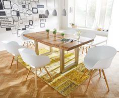 Baumtisch Live-Edge 180x100 Akazie Natur Platte 5,5 Gestell breit Butterfly Möbel Tische Esstische