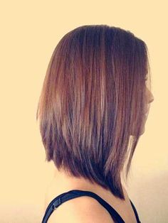 27 Beautiful Long Bob Hairstyles: Shoulder Length Hair Cuts with Regard to Recent Long Angled Bob Hairstyles Thin Hair Cuts, Haircut For Thick Hair, Medium Hair Cuts, Medium Hair Styles, Short Hair Styles, Reverse Bob Haircut, Short Haircut, Angled Haircut, Shoulder Length Hair Cuts Straight