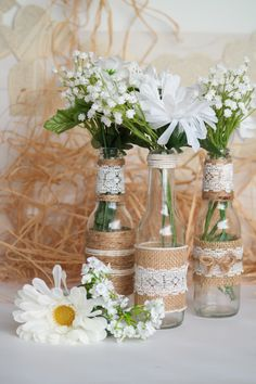 Rustic Burlap Centerpiece Bottle Vases, Wedding or Party Decor, SET of 5 Burlap Centerpieces, Simple Wedding Centerpieces, Bridal Shower Decorations, Wedding Decorations, Table Decorations, Flower Pot Centerpiece, Bridal Shower Rustic, Bottle Crafts, Vases