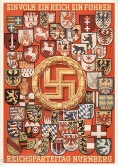 A poster adorned with the Coat of Arms of several German cities and a brilliant golden swastika in the centerfold. This was promotional material for the annual NSDAP Reishspareitag of 1930, just 3 years before Hitler was finally elected into office.