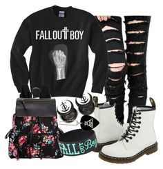 """""""♥ Fall Out Boy ♥"""" by animemonstergirl ❤ liked on Polyvore featuring Dr. Martens, Madden Girl, women's clothing, women's fashion, women, female, woman, misses and juniors"""