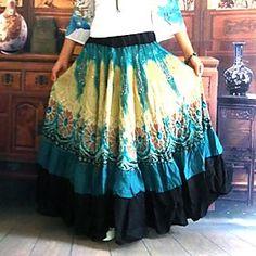 Women's Bohemia Novelty Fantasy Pattern Casual Long Skirt Printed Vintage Elastic Waist Maxi Skirt