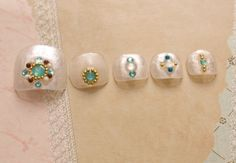 Toe nails holographic nail turquoise opal boho beach by Aya1gou