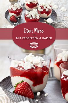 Eton Mess: A classic dessert with strawberries and meringues cupcakes decoration hochzeit ideas ideen recipes rezepte cupcakes cupcakes cupcakes Quick Healthy Desserts, Healthy Party Snacks, Healthy School Snacks, Healthy Dessert Recipes, Cookies Healthy, Brunch Recipes, Strawberry Desserts, Lemon Desserts, Meringue