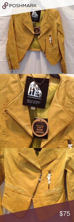 ♥️2 HOUR Sale♥️ G.E.T yellow motorcycle jacket Gorgeous yellow jacket! Dark yellow, not bright. Nwt. Size S from Neiman Marcus G.e.t. Jackets & Coats Blazers
