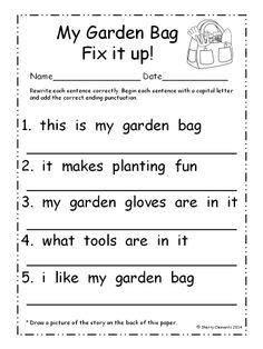 March Fix It Up Sentences (Capital letters and ending punctuation) Capital Letters Worksheet, Letter Worksheets, School Worksheets, Pronoun Worksheets, Teaching English, Learn English, English Writing, English Grammar, Simple Sentences