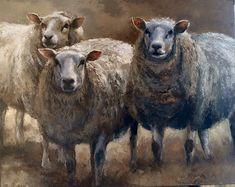 Just some sheep Sheep Paintings, Animal Paintings, Animal Drawings, Art Drawings, Farm Animals, Animals And Pets, Wooly Bully, Sheep Art, Bug Art