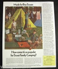 Vintage 1970 Boy Scout Family Camping Illustrated Equipment 70s Print Ad